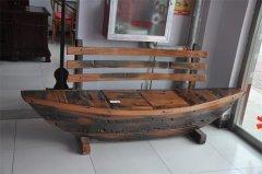 私人定制老船木船型长椅