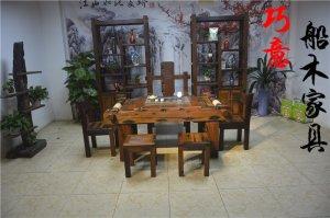 1.5米老船木茶桌,经典老