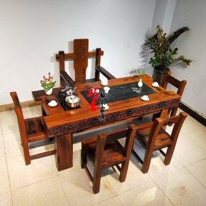 老船木茶桌大气龙骨茶桌办公室会客接待茶台