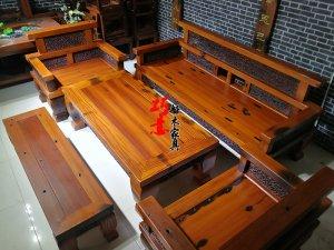 老船木实木沙发5件套大气客厅沙发做工精致