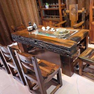 老船木海螺孔龙骨茶桌茶台茶几椅组合多图款式可定做正品老船木