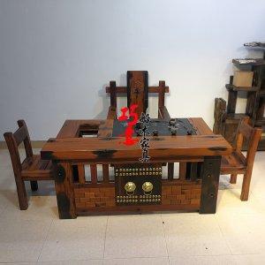 老船木狮子头1.6米茶桌,正品老船木茶桌,办公休闲会客茶台实木茶几