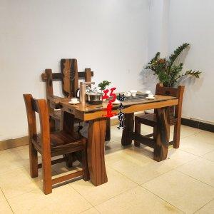 1.35米弯角茶桌 原木色弯角茶桌  老船木功夫茶桌支持定做定做