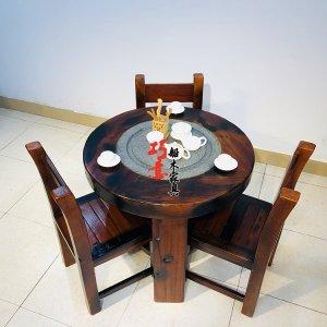 老船木圆形茶桌,客厅阳台休闲茶桌,圆形休闲茶几桌