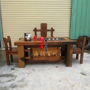 老船木文字雕刻茶桌,品牌雕刻茶桌,实木家具定做品牌定制标志定做